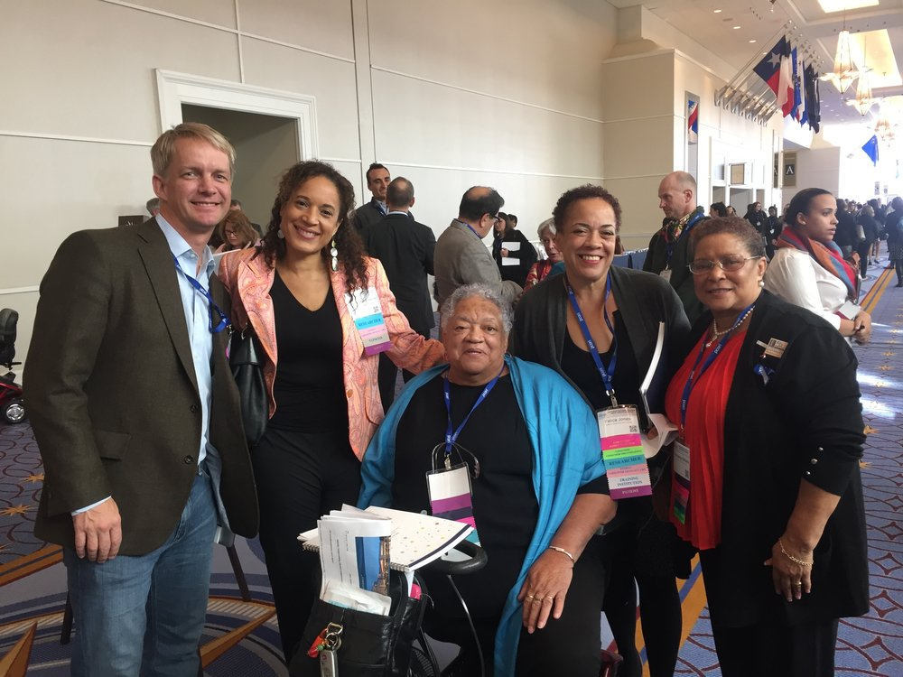 Dr. Ben Springgate (left), Ms. Loretta Jones (center), Ms. Felica Jones (right of center)