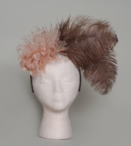 Dusty peach tulle flower with cocoa brown ostrich feathers Fascinator —  KadyBloom™ a8fd9896567