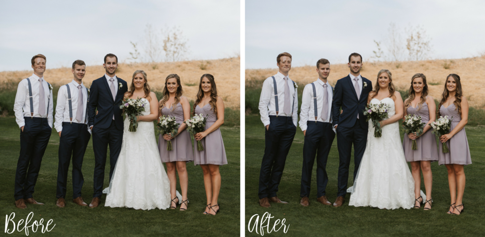Subtle changes in the position of your bouquet can change the silhouette of your gown, and show off more of the beautiful details and neckline. It will also enhance the appearance of your posture. -   N + D Photography