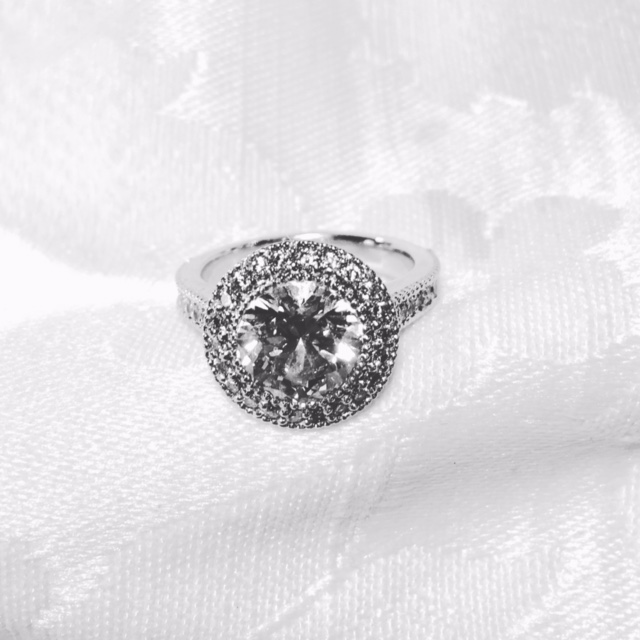 Custom made ring supplying 2.50 ct. GIA certified diamond, designed this mounting in 14k white gold.