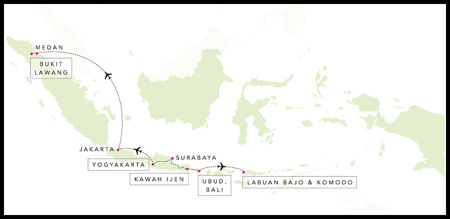 Alex & Madie's travel route in Indonesia.