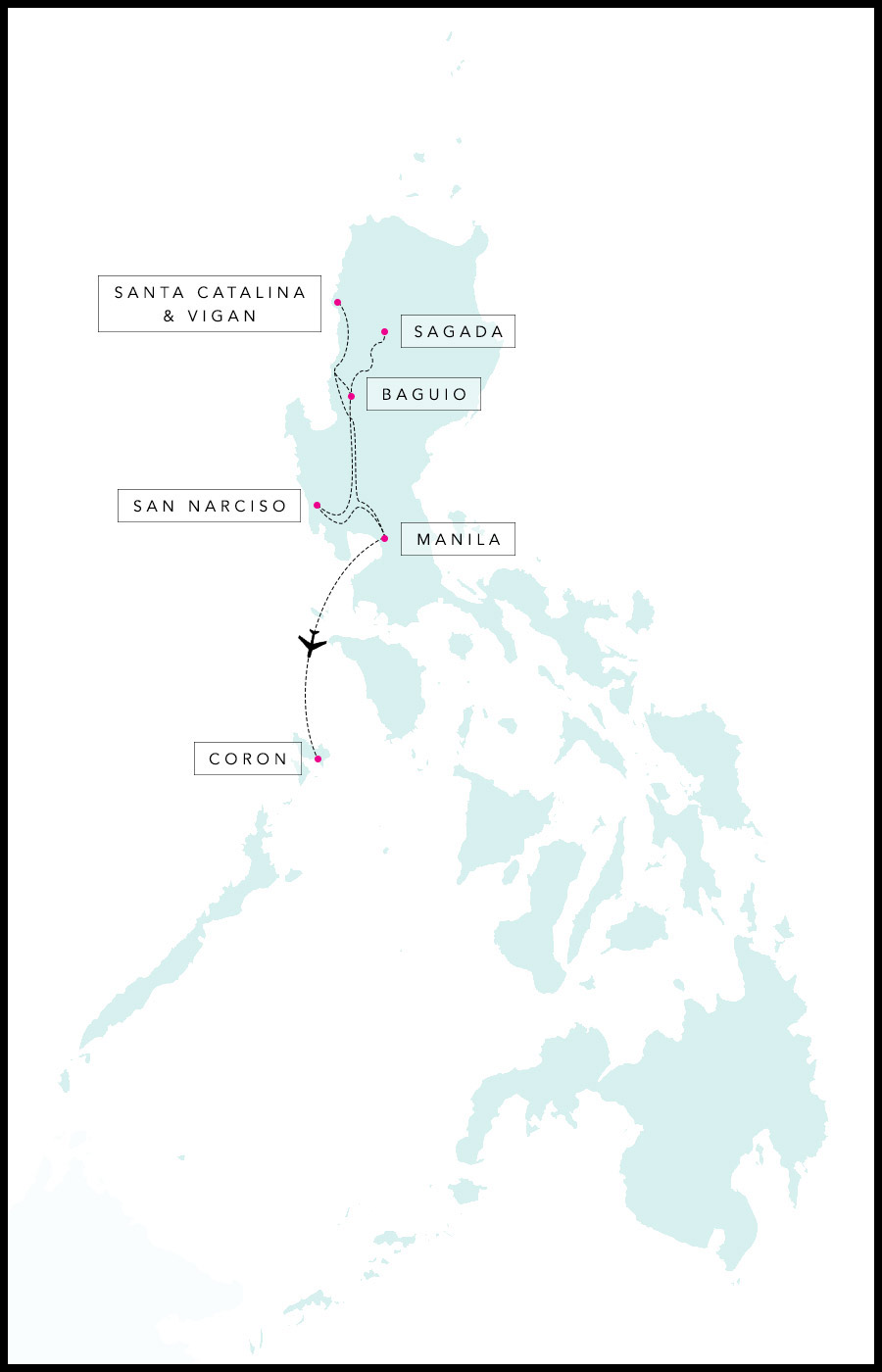 Alex & Madie's travel route in the Philippines.