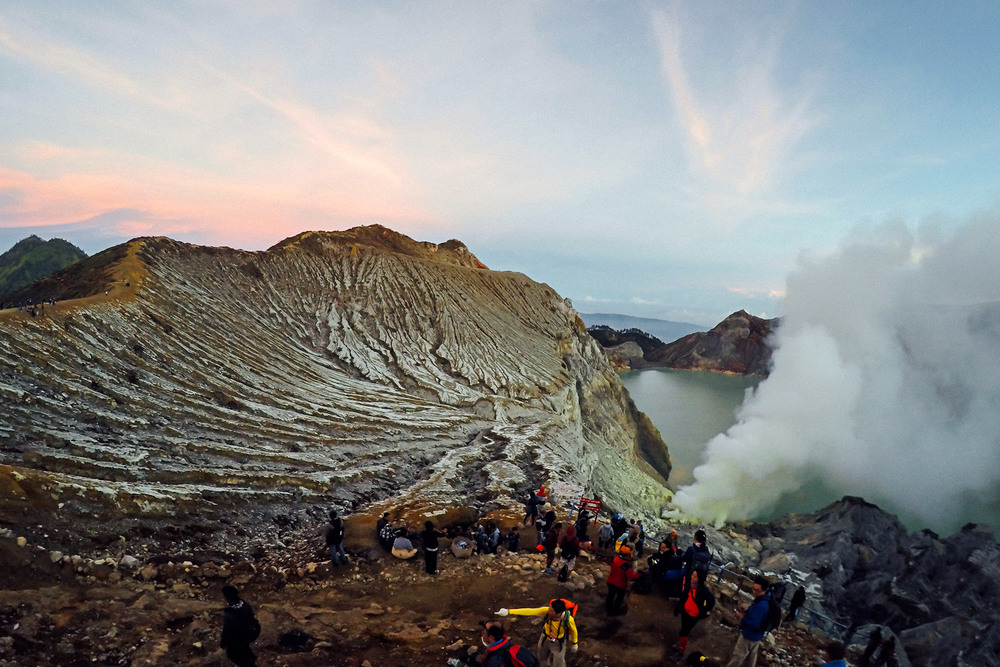 A view of Kawah Ijen's crater lake, known to be the largest acidic lake in the world. Our guide Anto said people still swim in the turquoise blue water. We wouldn't take that chance.