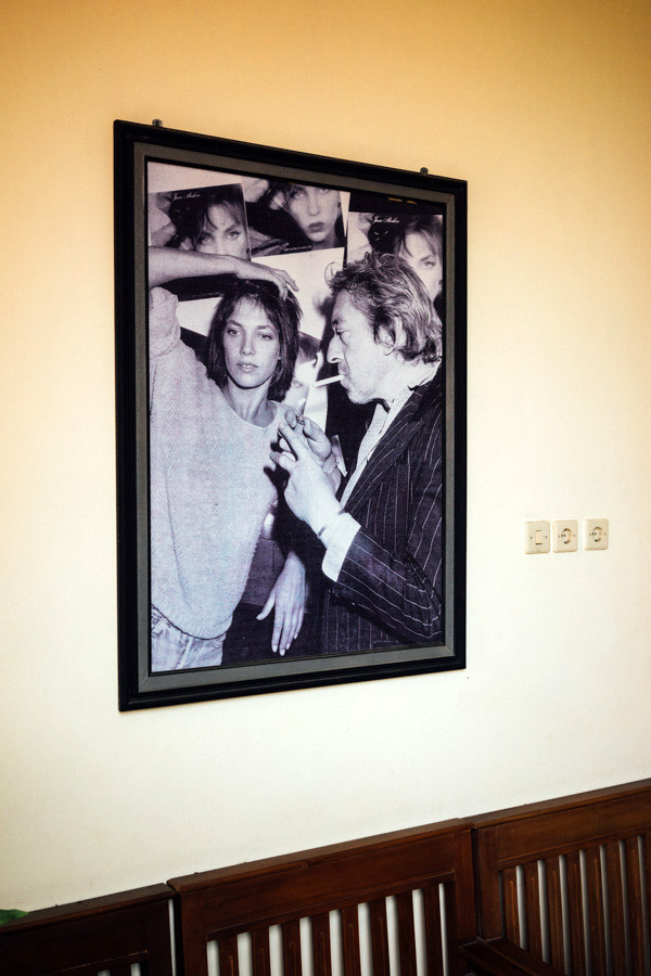 The great Serge Gainsbourg adorning the walls of La Javanaise.