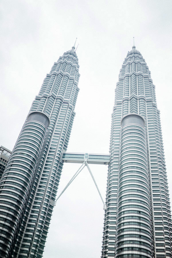 Looking up at the dizzying Petronas Towers and its sliding skybridge.