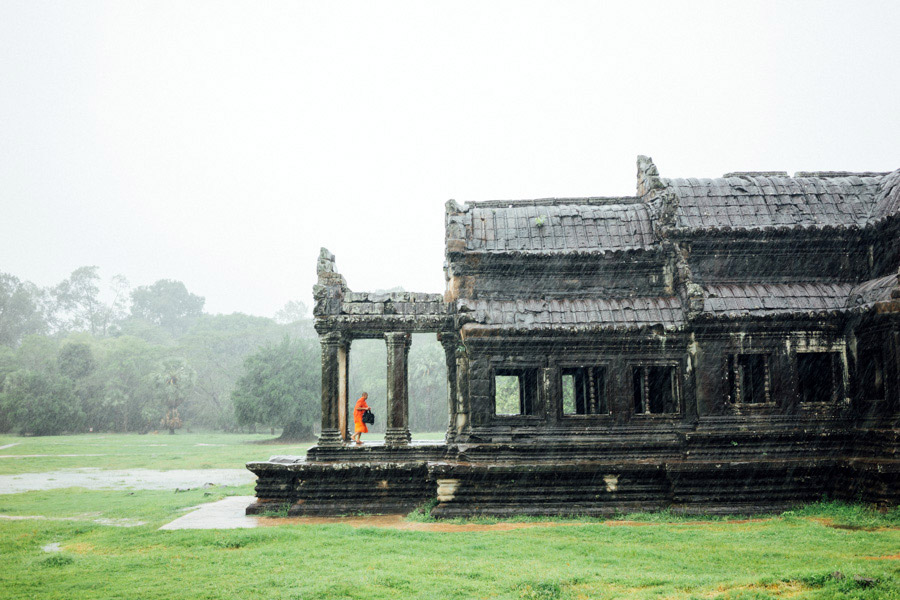 Finding shelter at Angkor Wat, Cambodia.