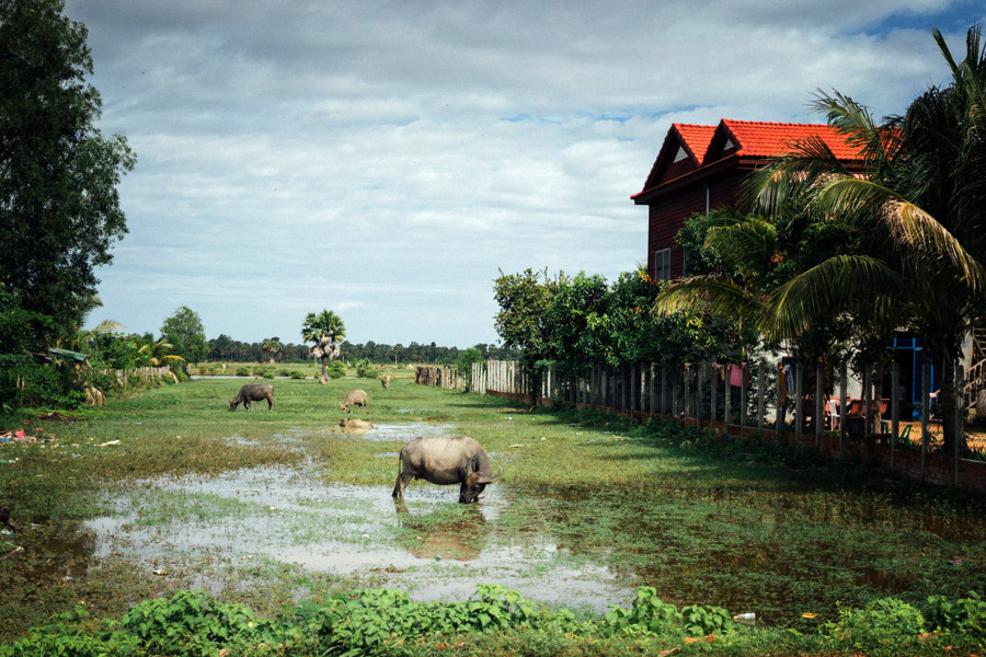 Riding through the countryside of Cambodia.