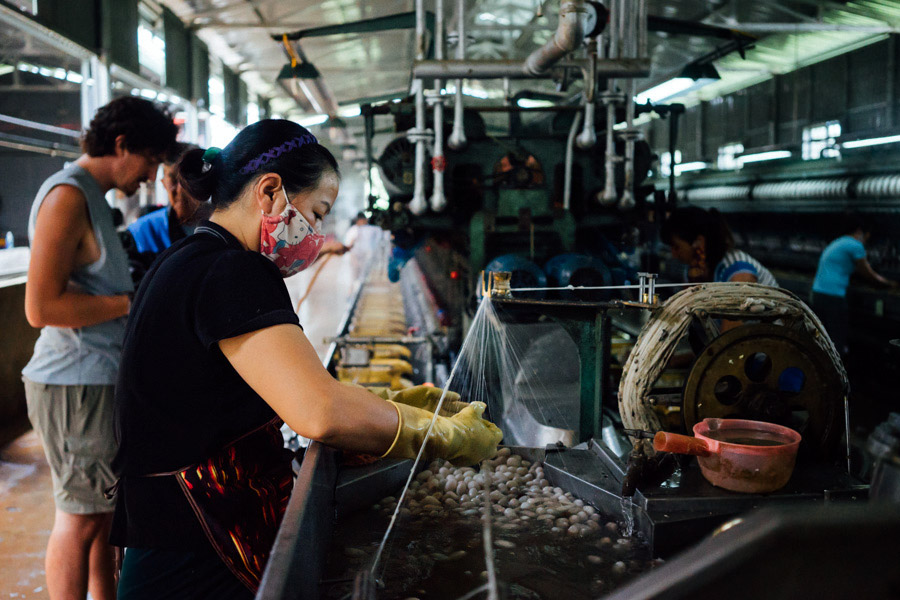 A silk factory steaming with production.