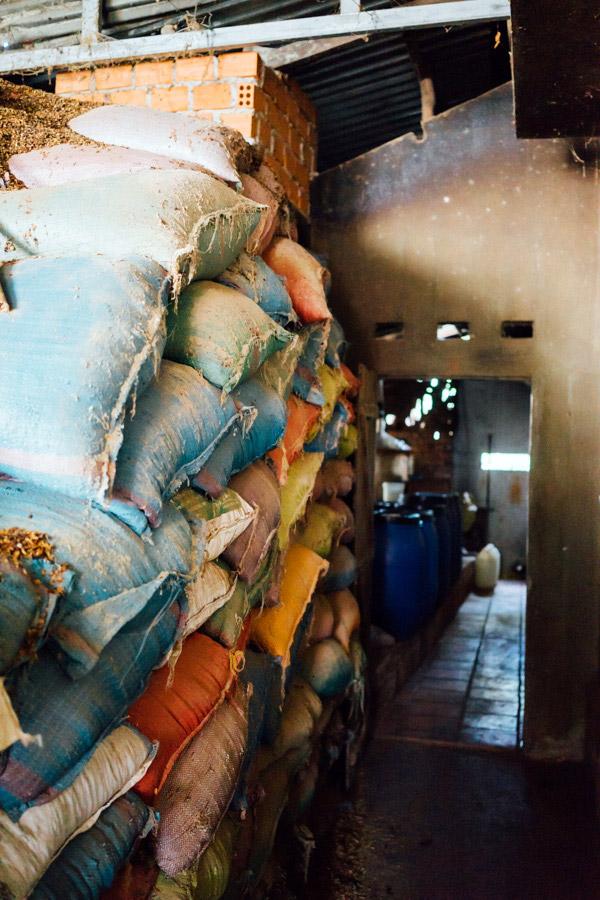 Sacks and sacks of coffee chaff.
