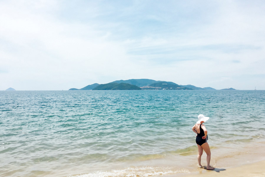 The beautiful blue of Nha Trang, the only beach we'll visit in Vietnam.