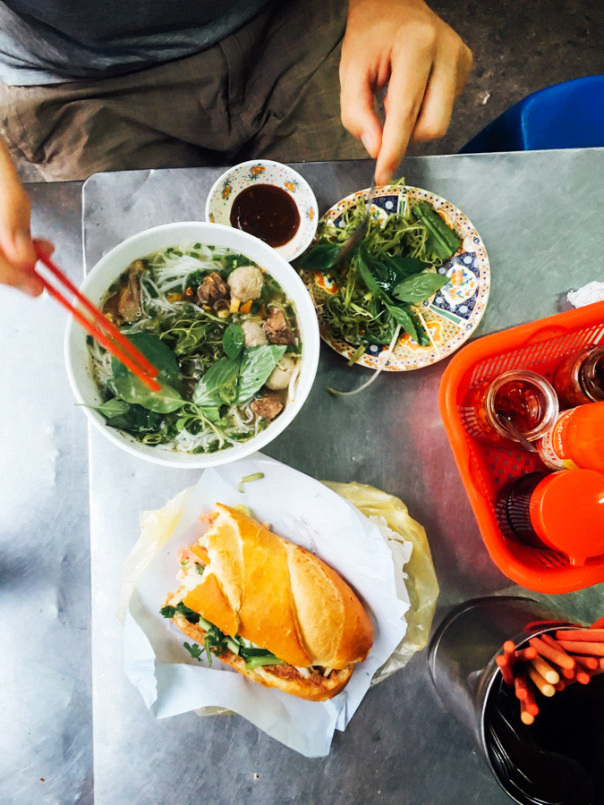 Really, this is the country we've been waiting to eat our way across. In less than 24 hours of being in Saigon, we've already had 4 banh mis and 4 noodle bowls. This is one the few times I remembered to take a photo before all the food was gone! (Favorite banh mi so far is at Hong Hoa Bakery - perfect baguette! And just learned they're made with wheat and rice flour!)