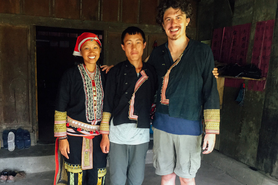 Dressed in traditional Red Dao clothing with our guide and new friend Pế.