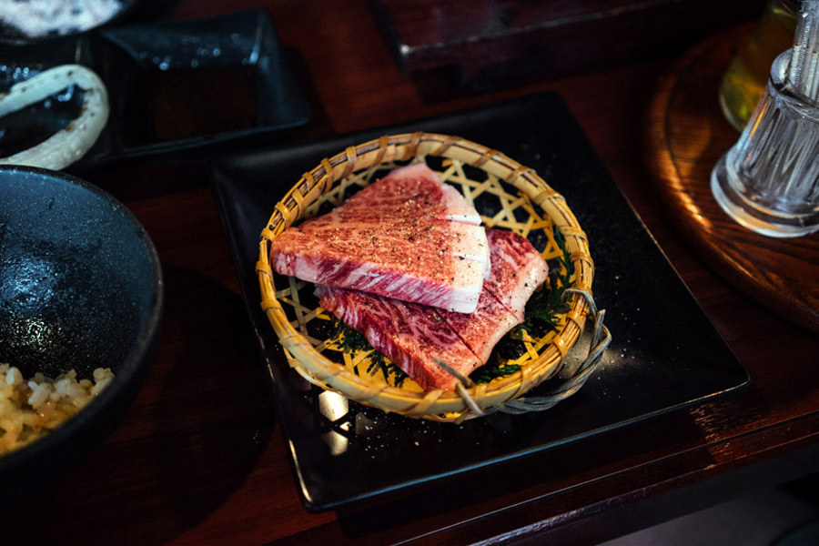 Perfectly marbled Kobe beef.