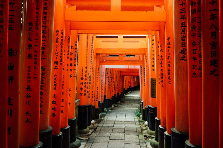 Inari is the kami (spirit that is worshipped in Shinto religion) of prosperity, success, and rice. It's why many companies and businesses donate a vermilion-colored shrine - for thanks and hope for more good fortune.   Here you can see their names engraved on the pillars.