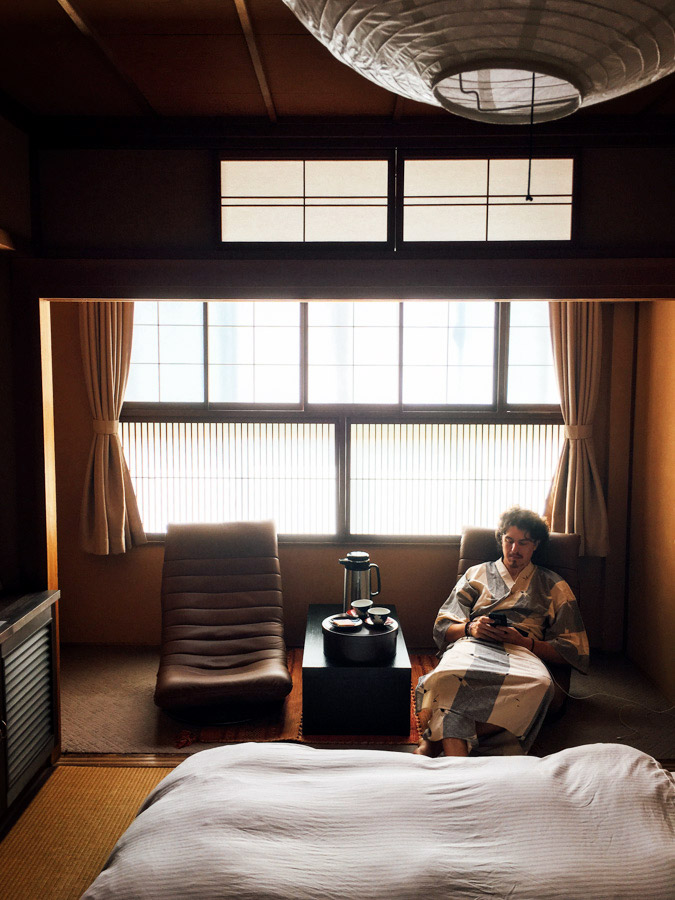 Both of us wanted to experience a traditional ryokan (old school Japanese inn), so we were happy to find one in the small mountain town of Takayama. Complete with tatami mats, sliding doors, yukata robes, and slippers, this may have been our most comfortable accommodation yet - even with the public onsen baths.