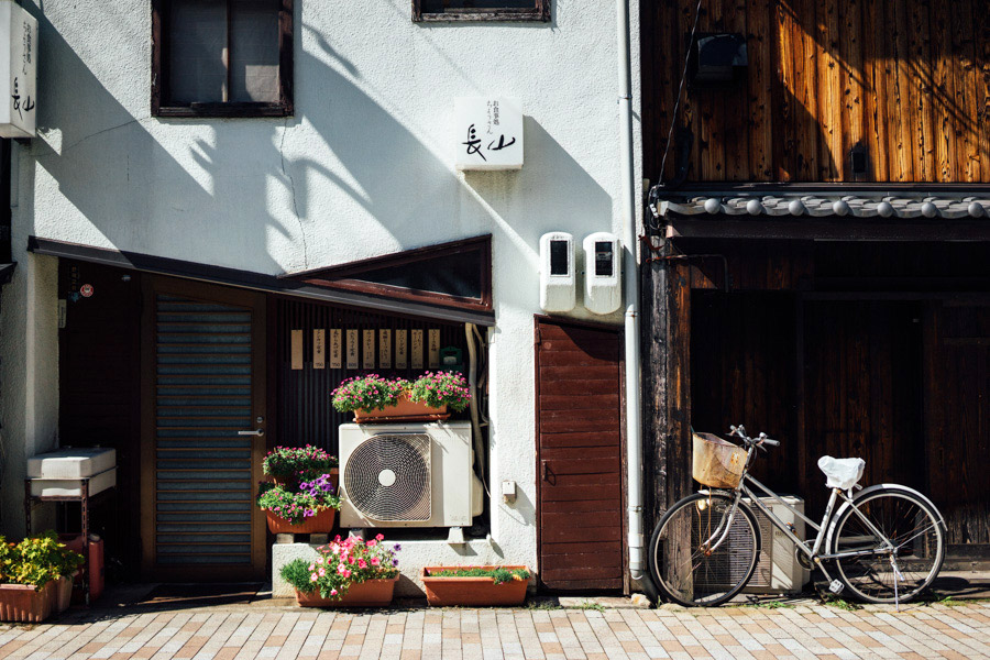 Quaint street scenes in Takayama, Japan.