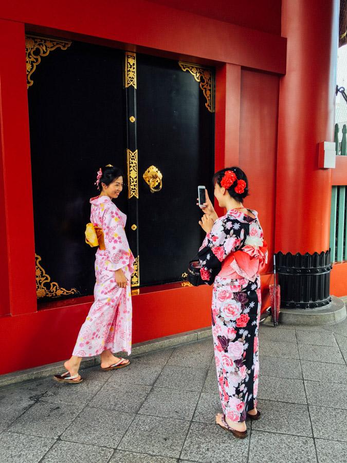 Girls in kimono costumes in Tokyo, Japan.