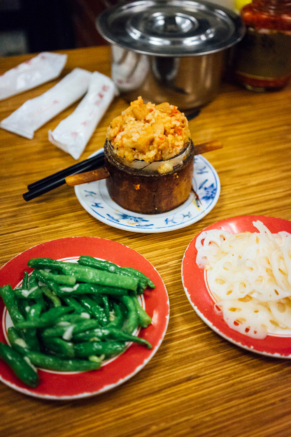 Yong Kang Beef Noodles - Pickled lotus root, garlic green beans, and pig intestines stuffed with glutinous rice