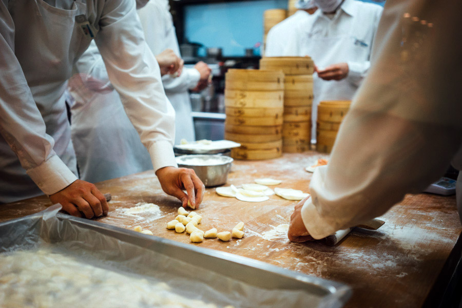 Din Tai Fung's XiaoLongBao dumplings in the making.