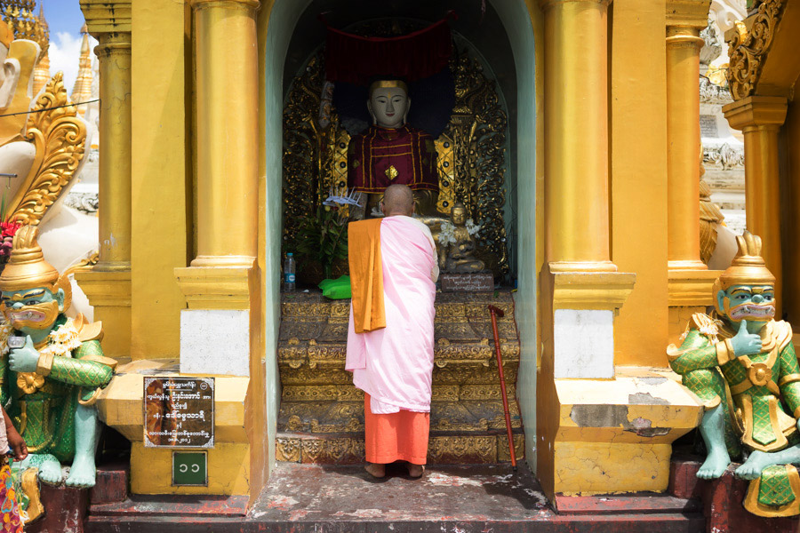 A female monk at the Shwedagon Pagoda.