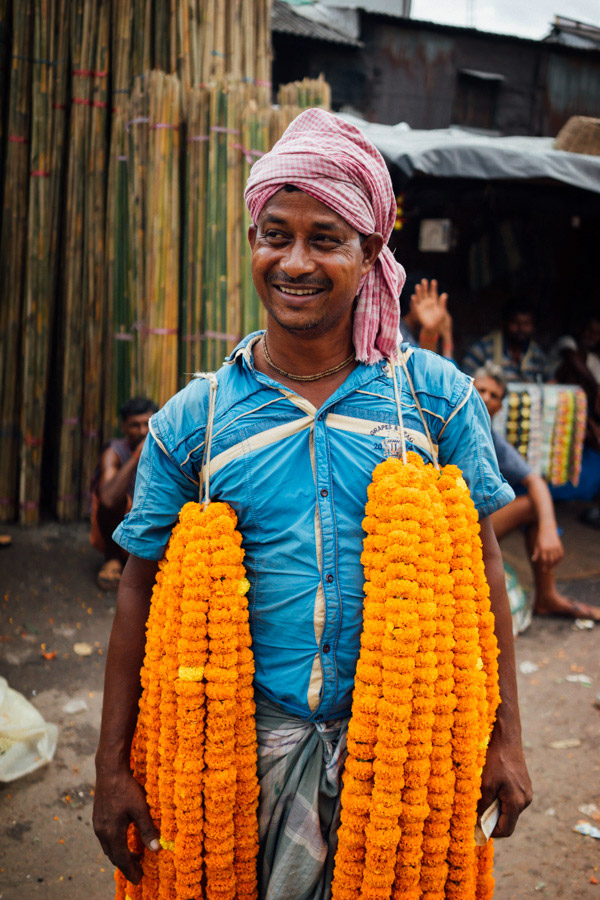 Chrysanthemum garlands on this flower merchant.
