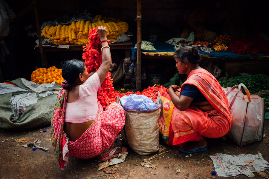 Just a few of the only women at the Mallik Ghat Flower Market in Kolkata, India.