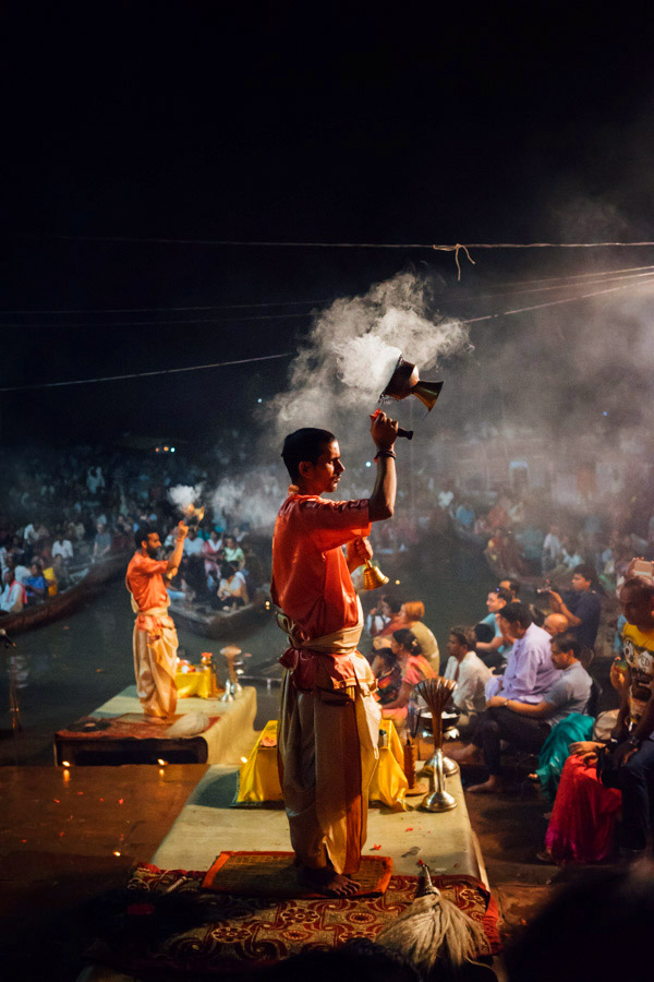 At the main ghat in Varanasi, a nightly Aarti is performed. Hundreds of people gather at sunset to watch the ritual of light being offered to the deities in a spirit of humility and gratitude. It's an incredible act of worship that is so beautiful - colorful, spiritual, emotional, that although we didn't understand the words or songs, I was moved to tears by the devotion and energy of all the people that surrounded us.