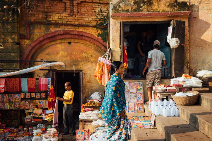 Vendors along the ghats of Varanasi.