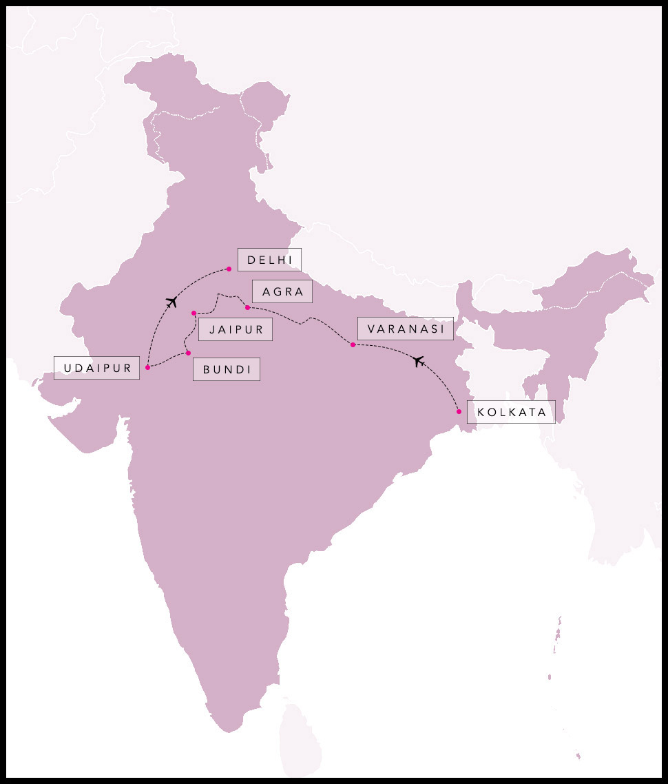 Alex & Madie's travel route in India.