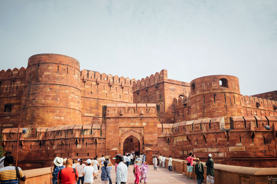 The brick and red sandstone Agra Fort.