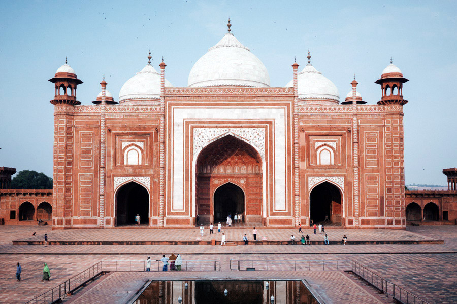 One of two identical red sandstone buildings that face the Taj Mahal, this one a mosque, the other a guesthouse.