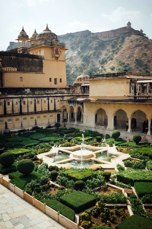 The beautiful courtyard at Amer Fort just outside Jaipur, India.