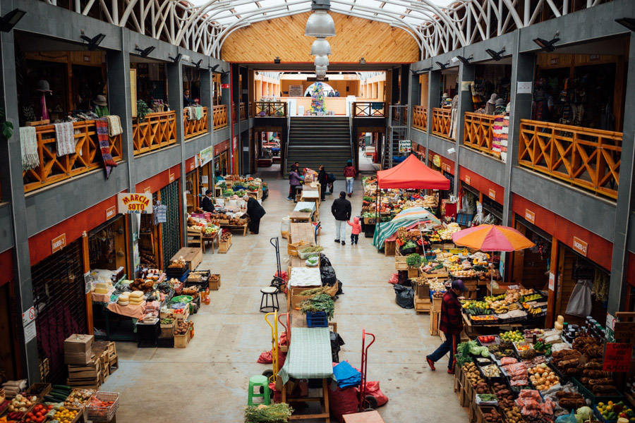 A local market in Ancud, Chiloé, Chile.