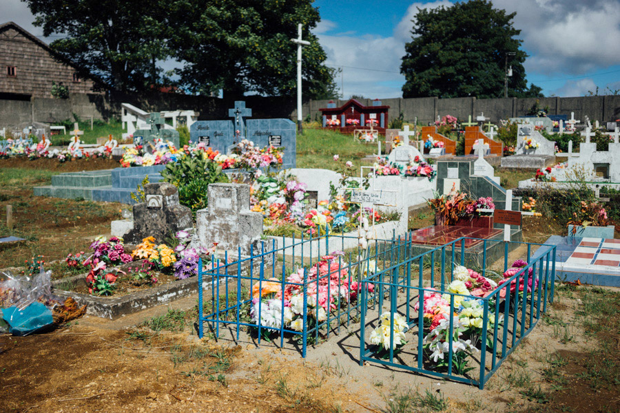 Like the roadside memorials, grave sites are adorned with the most colorful array of flowers. No one is forgotten here on Chiloé.