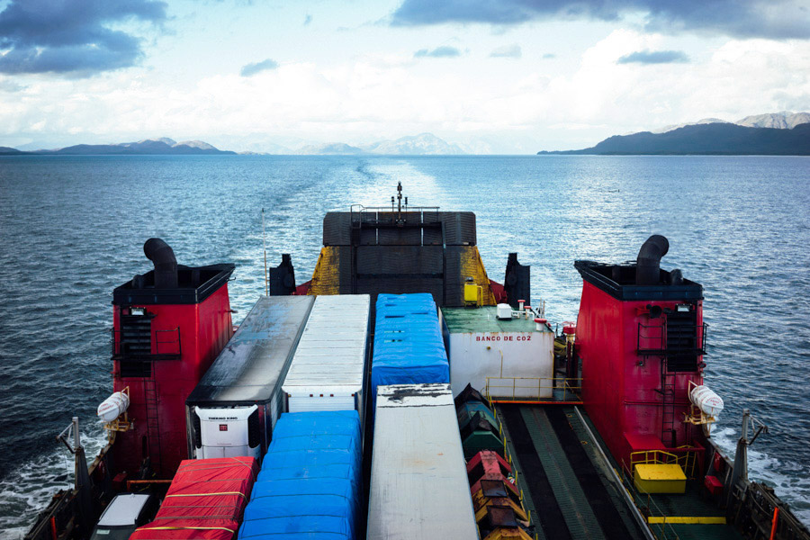 The beginning of our four day trip through the Patagonian fjords from Puerto Montt to Puerto Natales. Where else can you hitch a ride on a cargo ship?