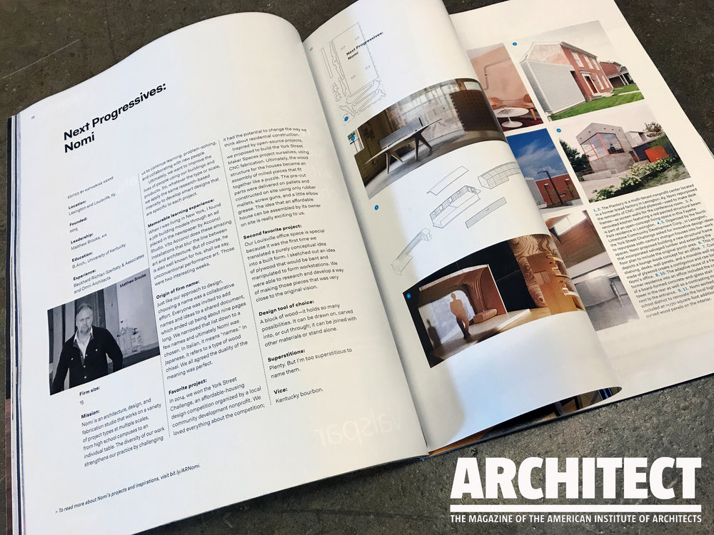 A profile of Nomi and Owner / Founder, Matthew Brooks in the May 2017 issue of ARCHITECT Magazine.