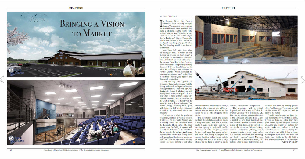 Read more about these two Nomi projects. The Yards: Pg 31, Blue Grass Stockyards' new Lexington Location: Pg 48-50.