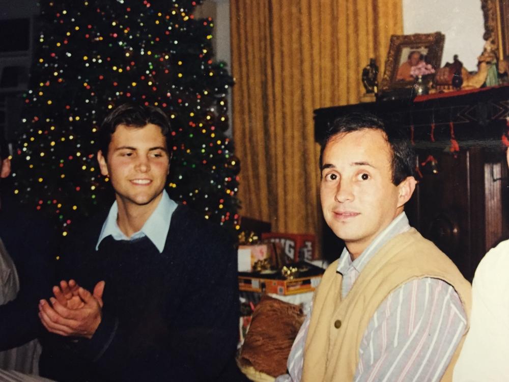 I am sitting with Marcelo Gangadhar, SRF Ashram, Christmas 2000.