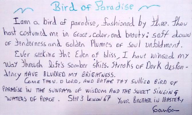 Ave del Paraíso Soy un ave del paraíso, engalanado por Ti. Tú me has vestido con la gracia, el color y la belleza. Con suaves y doradas plumas de ternura del desarrollo espiritual. Siempre buscando el Edén del gozo. Me he abierto camino a través de cielos sombríos de la vida. Rayos de oscuro desaliento han borrado mi brillo.  Ven Señor y baña está mancillada ave del paraíso en los rayos de la sabiduría y el dulce cantar de las aguas pacíficas.  Paso 3 lección 67. Tu hermano en el Maestro, Ganga.