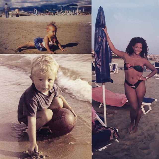The same #beach over time - #timetravel with us 🇮🇹⚡️💨✨ Top left @nastassjameetsworld at the beach as a toddler circa 1994 👶🏽👣🐚 Bottom left is nastassja's dad @nicola2504 at the same beach as a #toddler in the 1960s 👶🏼🌊⛵️ On the right is nastassja's mom @newpaltzange at the same beach in the early 90s when she and nicola were living in #italy 👙🌂🙌🏾 Read the full story + travel tips on our blog globalportals.wordpress.com #globalportals #portaltopietrasanta #tbt #versilia #interracial #goodvibes #tuscany #swirl #beachbody #summer #toscana #throwback #sea #memories #sun #travelgram #pietrasanta #travel #italia #positivity #landscape #nature #natural #teamnatural #sky