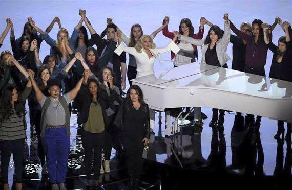 Survivors on stage with Lady Gaga at the Academy Awards on February 28th, 2016