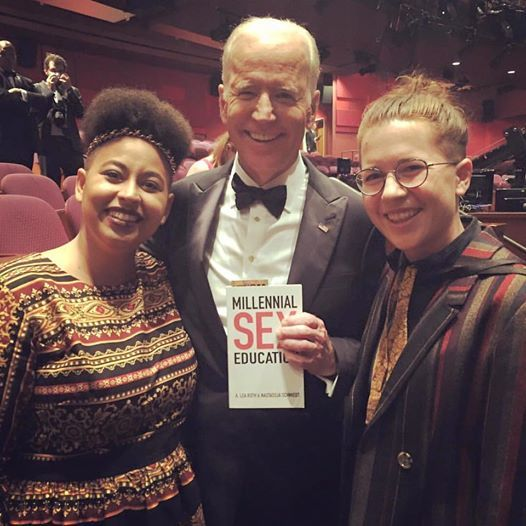 Me (on the right) with my fiancée/co-author, Nastassja Schmiedt, and Vice President Joe Biden holding our book Millennial Sex Education at the Academy Awards