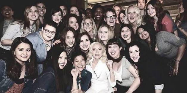 Nastassja pictured back left, with Lady Gaga and the other survivors from the performance