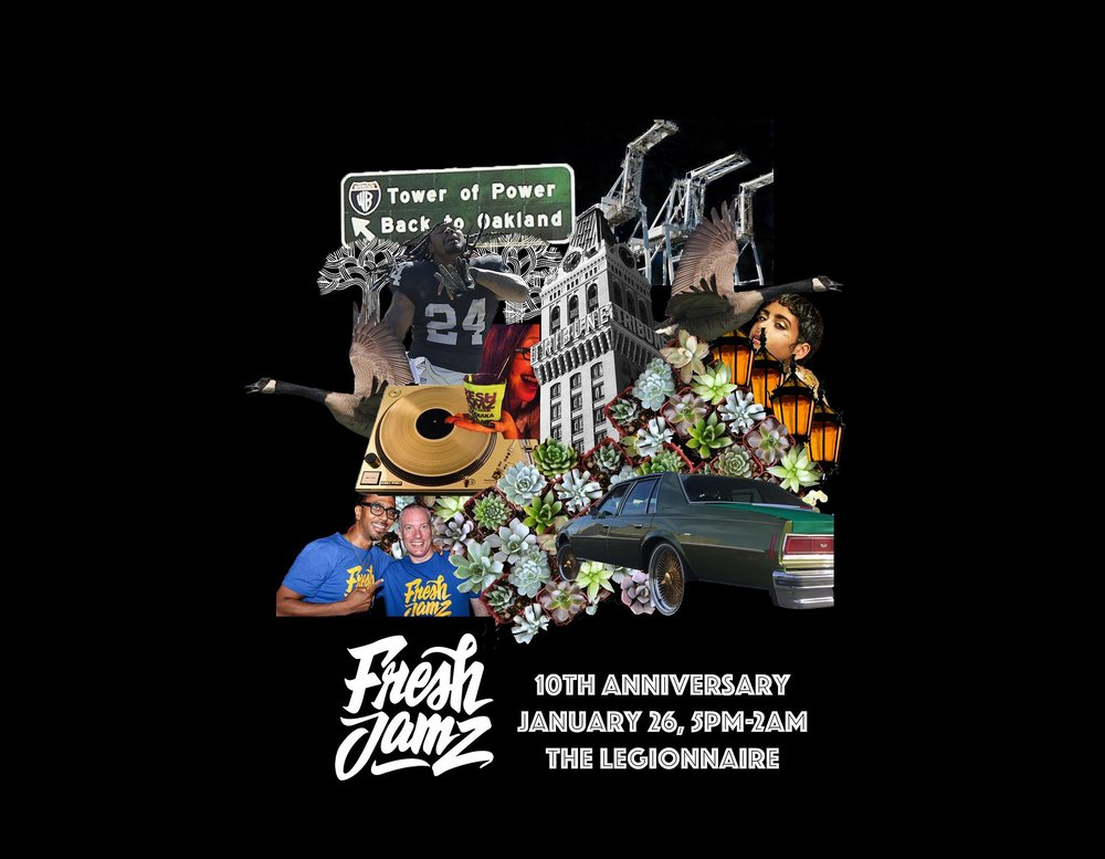 We're kicking off the Fresh Jamz 2018 Decade Tour in style. Join us as we celebrate the incredible community that is you. With over 100 parties, 4 lake parties, a pop-up Halloween Jam and endless memories in the books, Fresh Jamz is the happiest hour of the month. This month we're gettin' down at Legionnaire, a new spot for us but with the same Fresh Jamz vibe. Oakland's best DJs will keep you dancing for hours.  Special guest DJs:  Deejay Crimson  (Branching Out),  Durell Chillin Coleman  (KMEL),  Logi Platurn Geimgengill  (Oakland Faders),  Martin WillieMaze Aranaydo  (NVR OVR) &  Mwapagha Mkonu  aka Mpenzi, and  David Castillo , hosted by  Lance Lee Laverdure  new coozies | new t-shirts designed by  NVR OVR   The Decade Tour: Look for us this year at the Oakland Museum, Lake Merritt, Old Kaan and more.