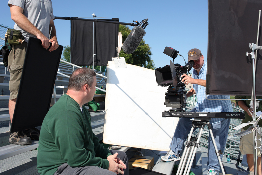 Russ Hadley Director / DP shooting Mike McCarthy head coach Green Bay Packers for Cellcom.