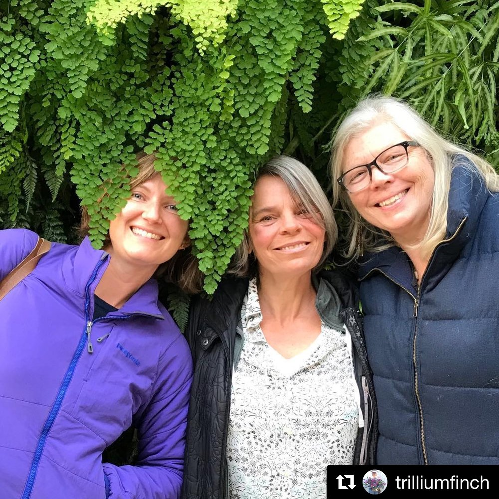Lily, Julie and Nina happy in the living wall at Longwood Gardens.
