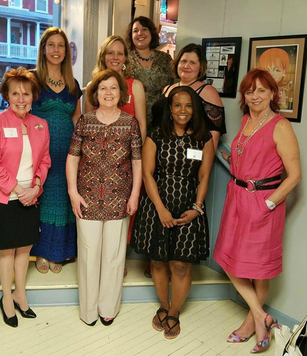 And here are all the featured authors with Nora. The two redheads chose to wear coral!