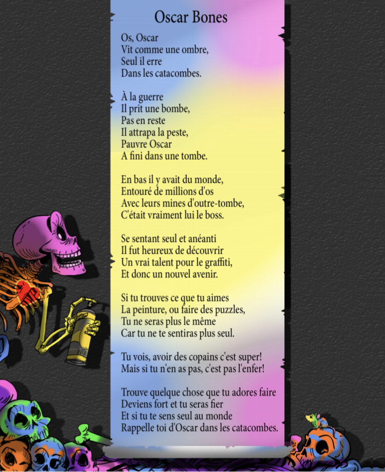 Oscar Bones is available in French and in English!