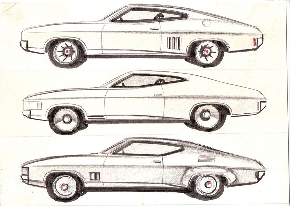 1972 XA Falcon Hardtop Design Illustration