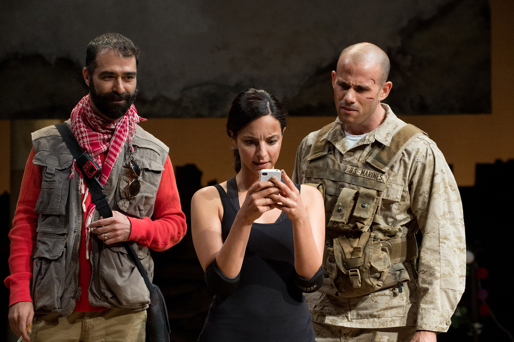 Ali (Barzin Akhavan), Elliot (Daniel Duque-Estrada) and Shar (Tala Ashe) try to decide on a travel destination. Photo: Jenny Graham, Oregon Shakespeare Festival.